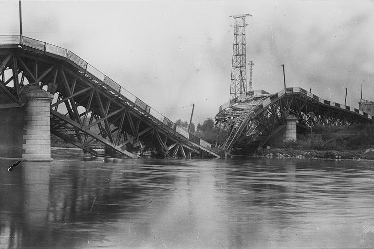 Ricostruzione post bellica, Strada statale 9 'Via Emilia', ponte sul fiume Po distrutto durante la Seconda Guerra Mondiale