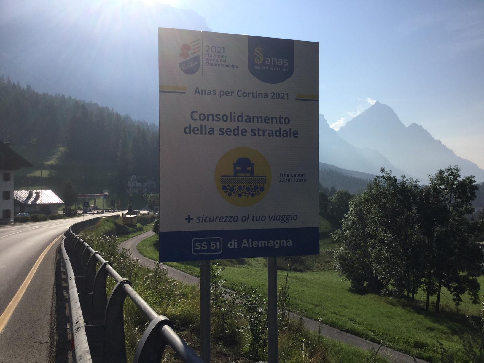 Nuovi cartelli lavori viabilità Cortina2021