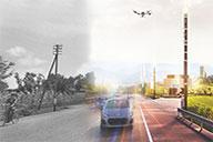 Immagine di un drone che sorvola una strada