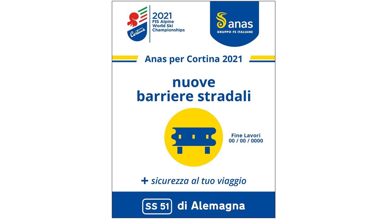 Locandina Anas per Cortina 2021 nuove barriere stradali