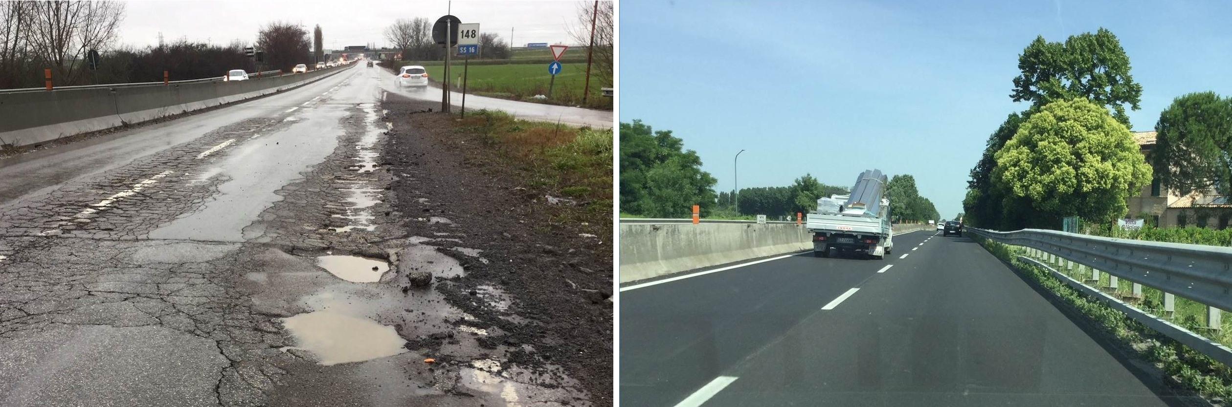 Immagine della E55 - SS16 prima e dopo i lavori