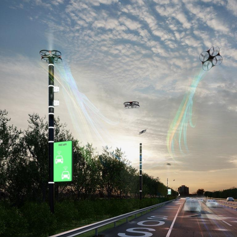 Image of a Smart Road with drones