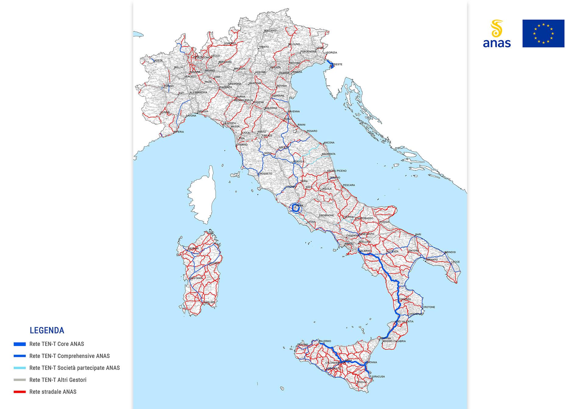 Mappa della rete Ten T Anas