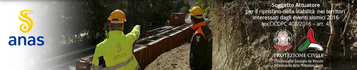 Immagine raffigurante due operai in un cantiere Anas con sovrimpressione dei loghi Anas, Protezione Civile e Repubblica Italiana