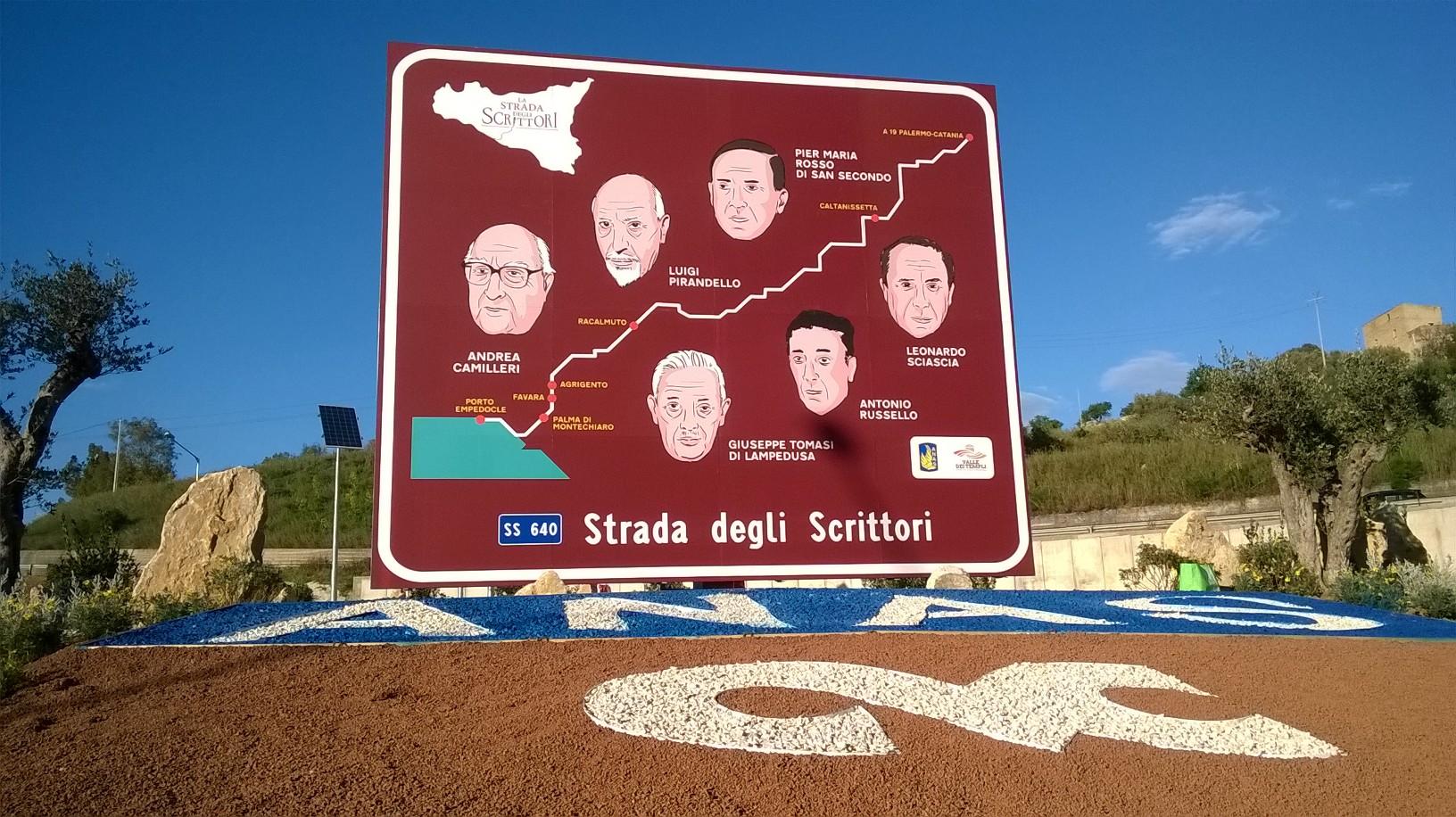 Immagine del cartellone stradale sulla Strada degli Scrittori