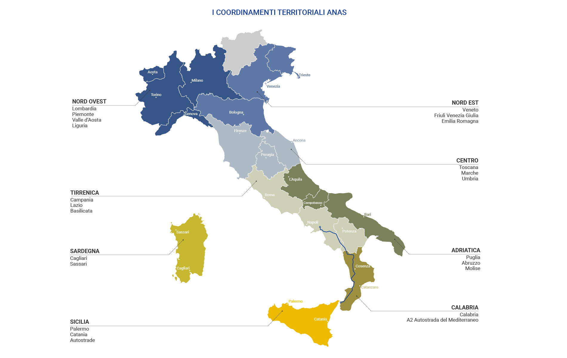 Cartina d'Italia indicante i Coordinamenti Territoriali Anas e la loro suddivisione territoriale
