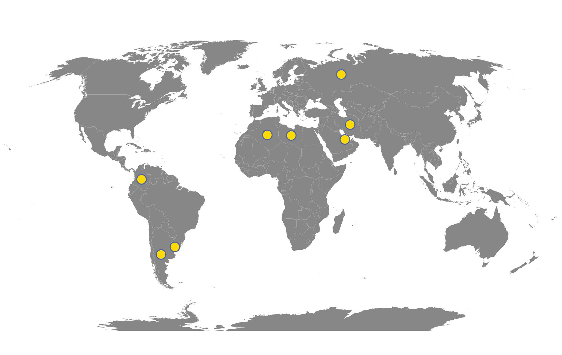 Immagine di un planisfero con evidenziati gli stati dove sono presenti commesse gestite da Anas