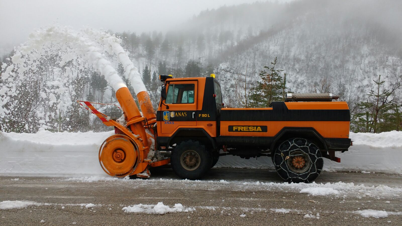 Picture of a truck mounted snow blower