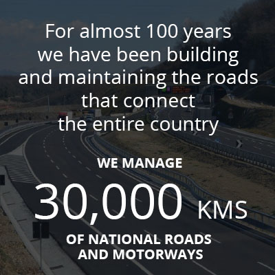 "This graphic box says: ""For almost 100 years we have been building and maintaining the roads that connect the entire country. We manage 30,000 kms of national roads and highways"". It brings to the ""Our roads"" page of our website."