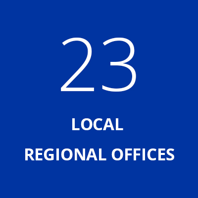 "This graphic box says ""23 local regional offices"". It brings to the ""Organizational structure"" page of our website."