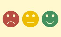 Immagine di tre faccine colorate
