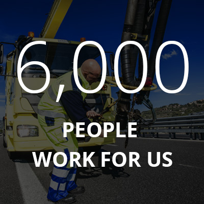 "This graphic box says: ""6000 People work for us"". It brings to the Our Employees page of our website"