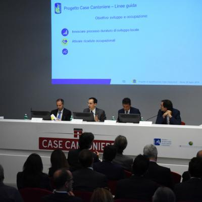 Presentazione bando Case cantoniere, Il tavolo dei relatori