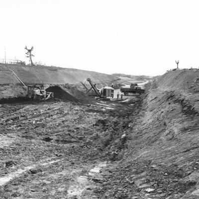 GRA di Roma, tratto in costruzione tra la Via Tiburtina e Via Prenestina,1954