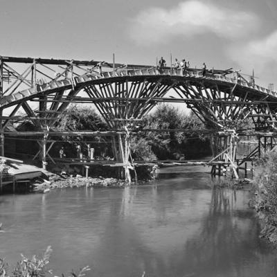 GRA di Roma, costruzione ponte sul fiume Aniene,1954