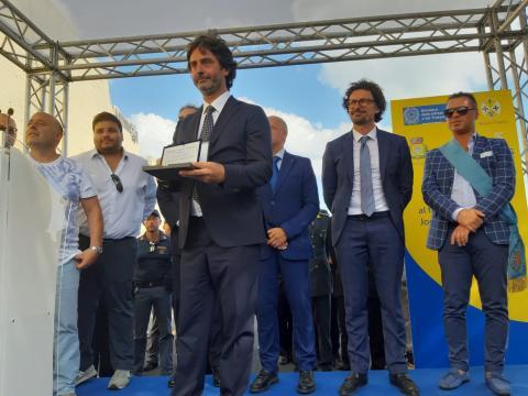 Foto dell'ingegnere Marco Moladori (Anas Calabria) all'apertura della Sp 23 Joppolo Coccorino