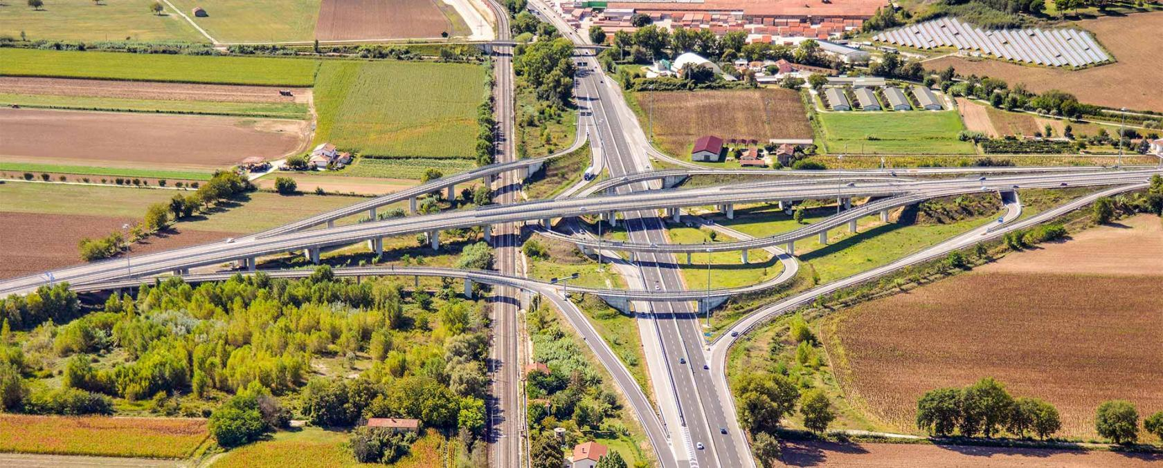 This is a picture of a road interchange taken from above (one road passes over the other).